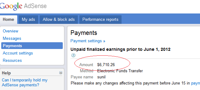 Adsense Earnings $6.710.26 - June 2012 (Batch 1)