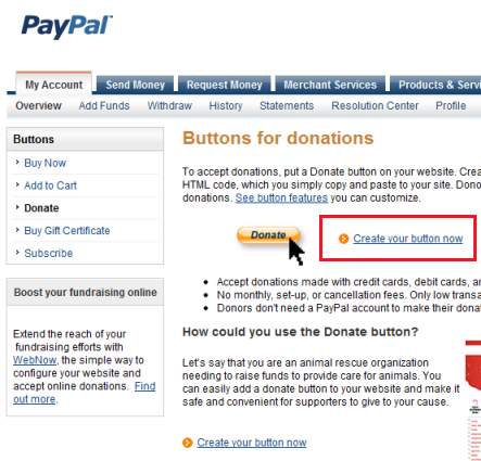Create a PayPal Donate Button
