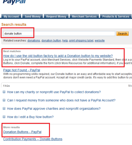 PayPal - Search for Donate Button