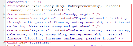 Extra Money Blog Meta Tags