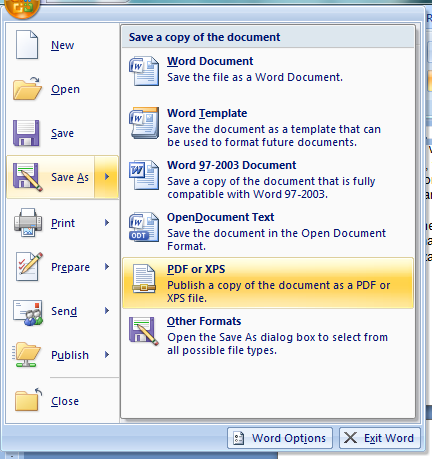 Save As PDF Menu