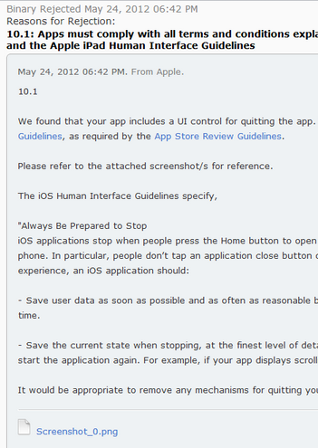 Apple iTunes App Submission Rejection Notice