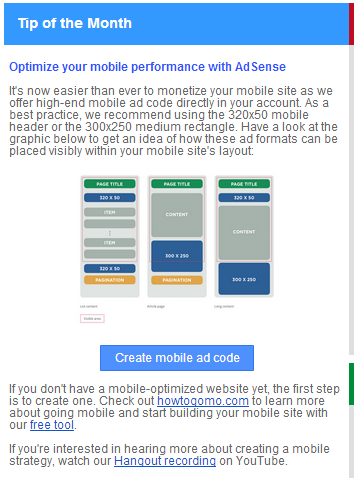 Google Adsense for Mobile Tip
