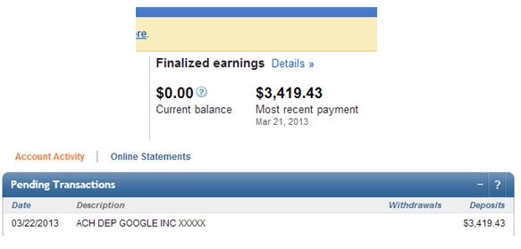 2 Other Sites Reached the $3K+ Threshold - March 2013!