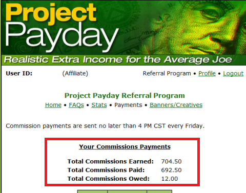 Project PayDay Payment $704.50