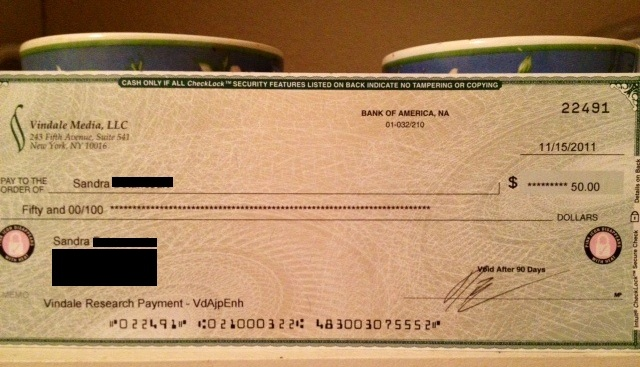 One Reader's First PayCheck from Doing Paid Surveys | The Extra ...