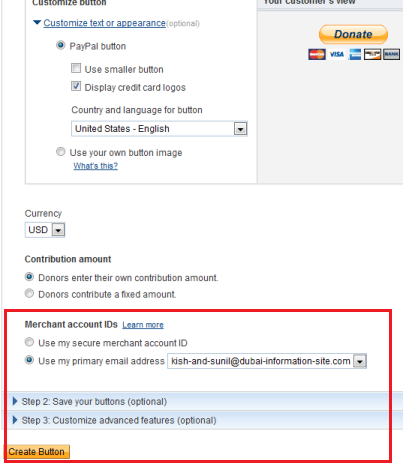 PayPal Donate Button Settings